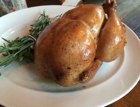 Billy and Teri shared this roast chicken at Reynard.  It is presented in all its golden-brown-ness and then carved. Yum.