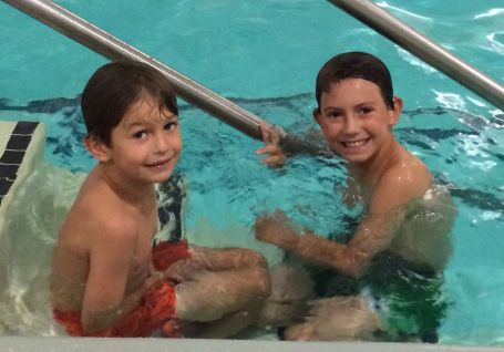 James and Thomas always come over to swim in our building's pool.