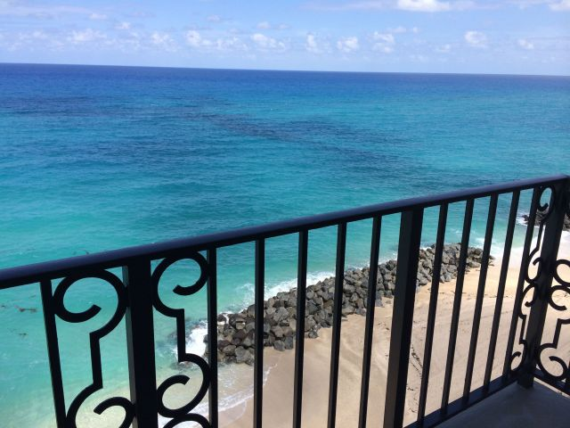 Room with a view: our oceanfront balcony at The Breakers.