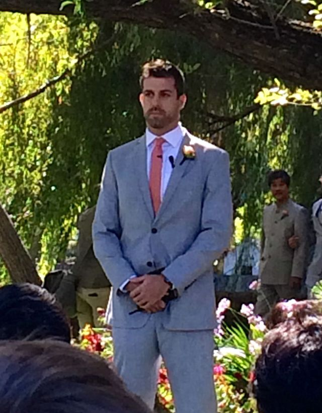 "The handsome ""officiant"" before the ceremony"