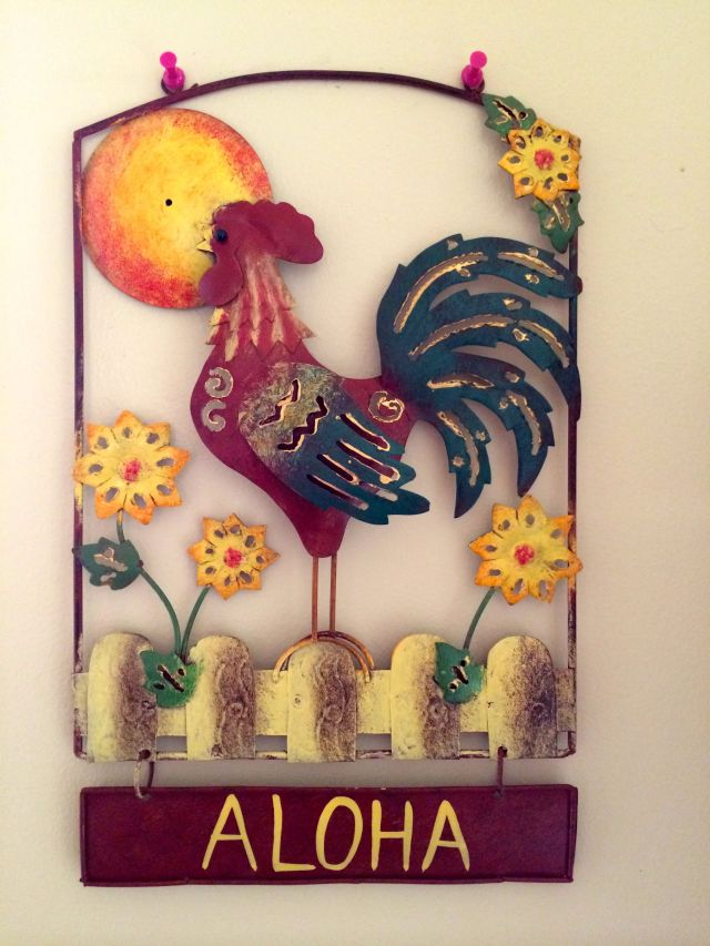 """I brought a little """"moa"""" home from Kauai to hang near our coop."""