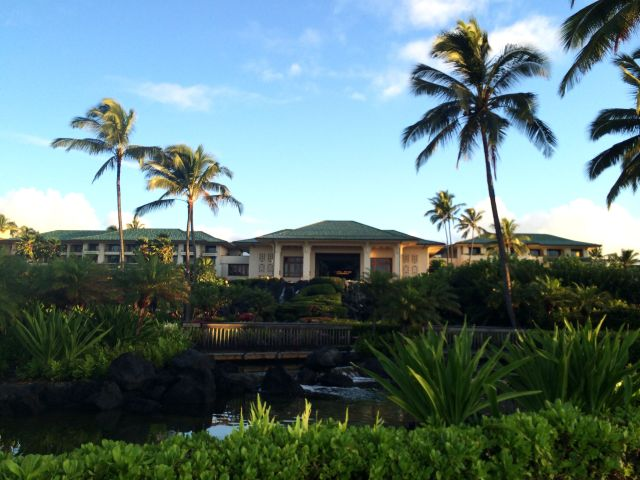A view of Seaview Terrace at the Grand Hyatt Kauai from Shipwrecks beach.
