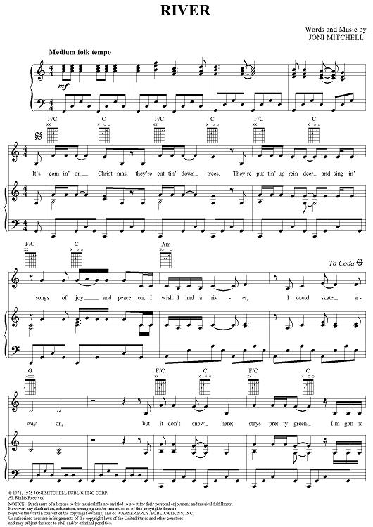 A Joni classic. (image from onlinesheetmusic.com)