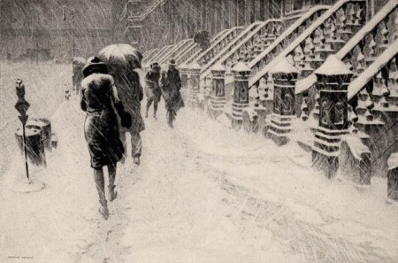 "1930 etching titled ""Stoops in the Snow, West 40's"" by Martin Lewis (image from ephemeralnewyork.wordpress.com)"