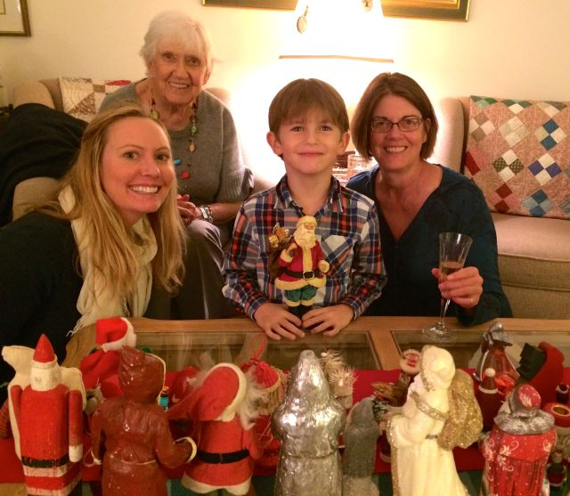 Phyllis and Gail hosted a dinner and Santa collection viewing.