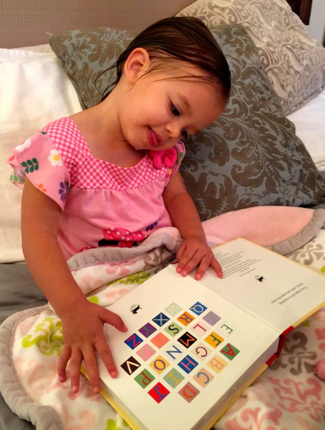 Before Caleigh went to sleep that night she showed us that she knows all her ABC's!
