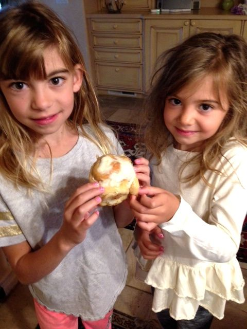 And the girls enjoyed Granny's sweet rolls before they left.