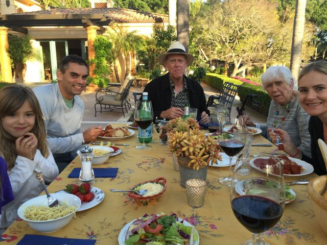 The weather was so beautiful that we had our pre-Easter spaghetti dinner on the terrace Saturday evening.