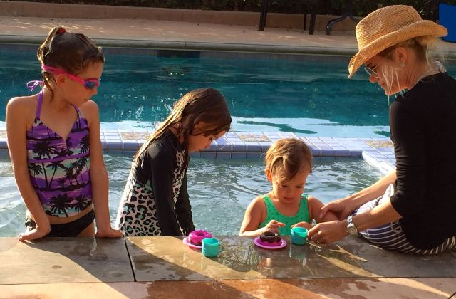 Tea party at the pool with Tina and girls.