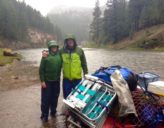 Gail and the CE dodging raindrops in Montana