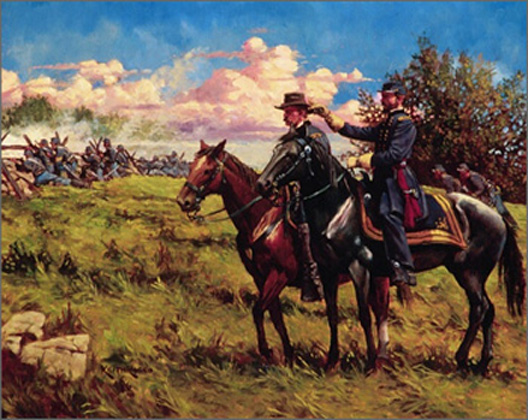 Generals Reynolds and Buford are depicted on the first day of battle at Gettysburg, shortly before Reynolds was shot from his horse and instantly killed. (image from explorepahistory.com)