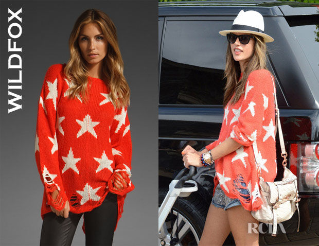 Alessandra Ambrosio is one of many celebs who have been spotted in the Wildfox sweater, which also comes in navy.