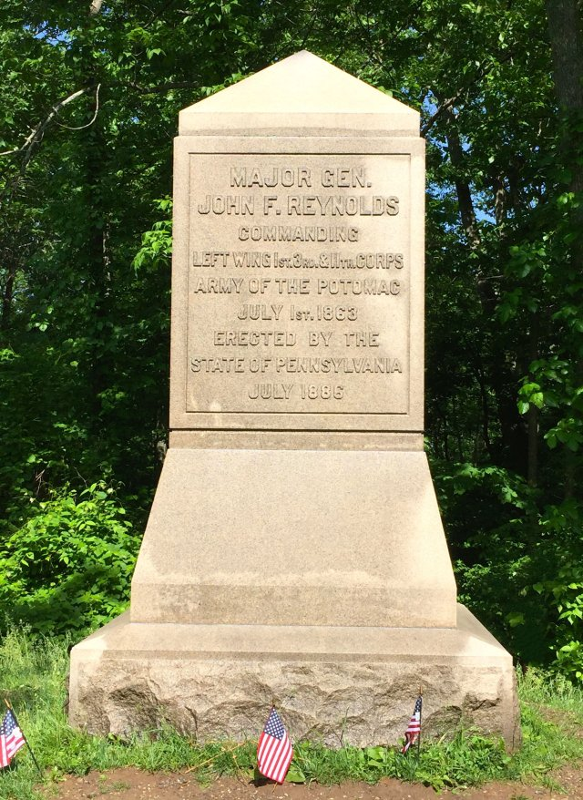 This monument in Herbst Woods marks the place where Union General John F. Reynolds was killed on the first day of fighting at Gettysburg.