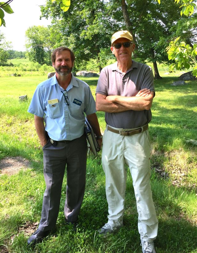 Guide Larry Korczyk and the CE at Spangler's Meadow on the Gettysburg battlefield.