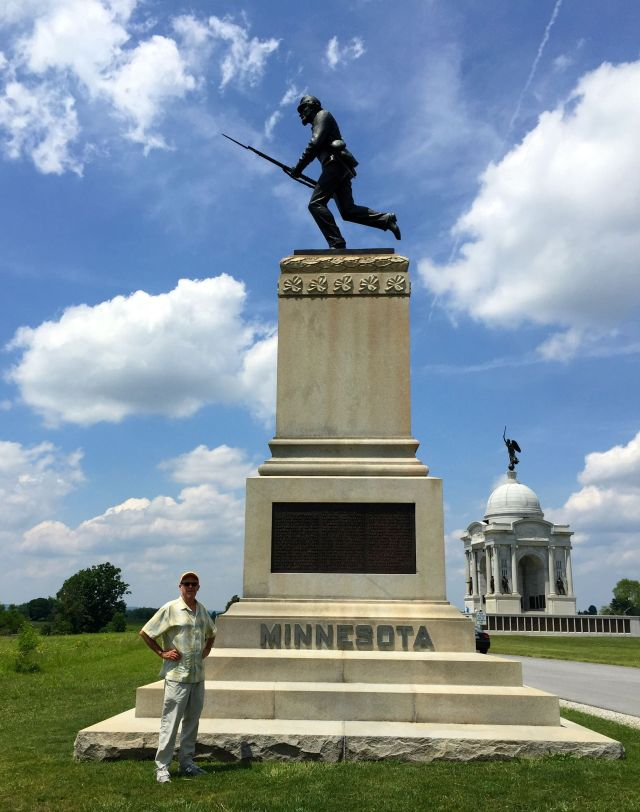The CE pays respects at the monument to the  fearless First Minnesota regiment at Gettysburg