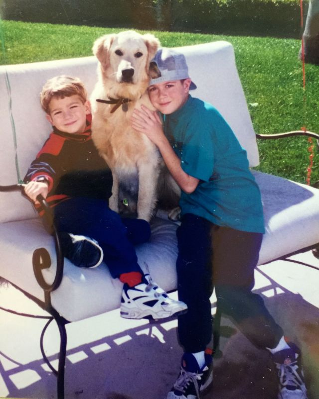 First the house and then a dog: the boys with Peaches in 1994.