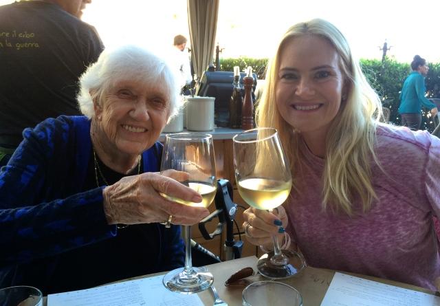 Granny and Tina make a toast at Cucina Enoteca