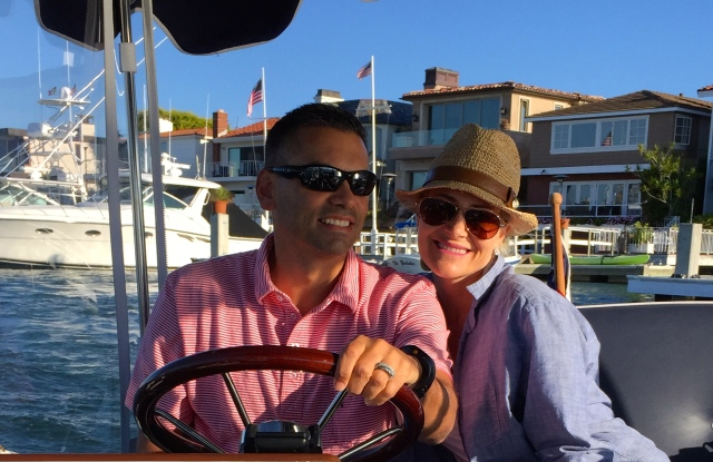 John and Tina at the helm of the Duffy.