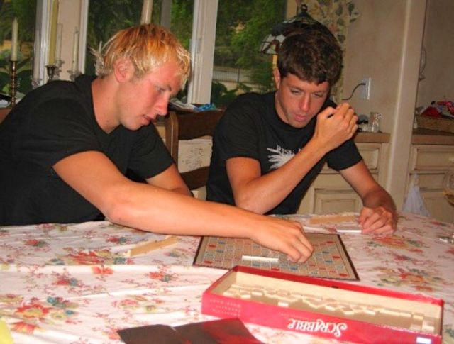 Scott and Taylor have a Scrabble duel, summer 2006.