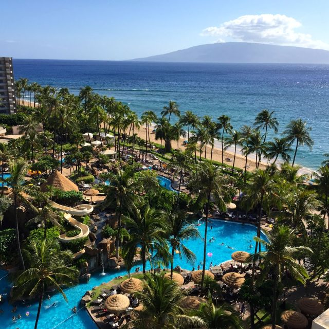 Just how we like it: view from our balcony of the Westin Maui pool and Ka'anapali beach.