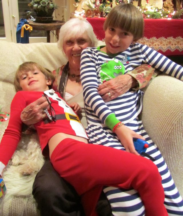 Phyllis with great-grandsons James and Thomas: gotta' have a sense of humor if you're going to be a great-grandmother!