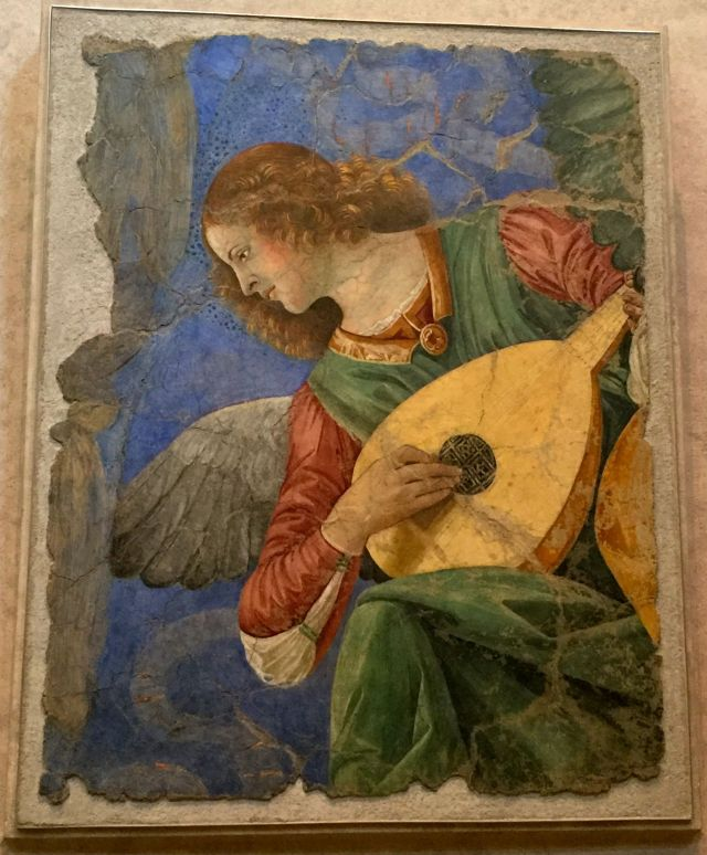 She was trivialized as a postage stamp but what a beauty this Angel with Lute is at the Vatican Museums.