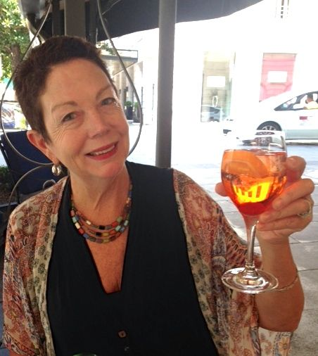 Enjoying the ubiquitous Aperol Spritz.