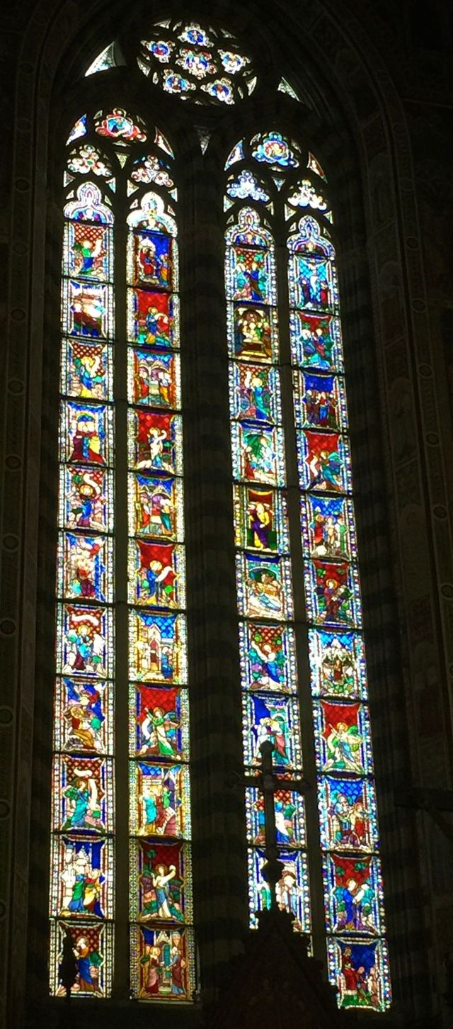 These stained glass windows were magnificent even on a rainy day.