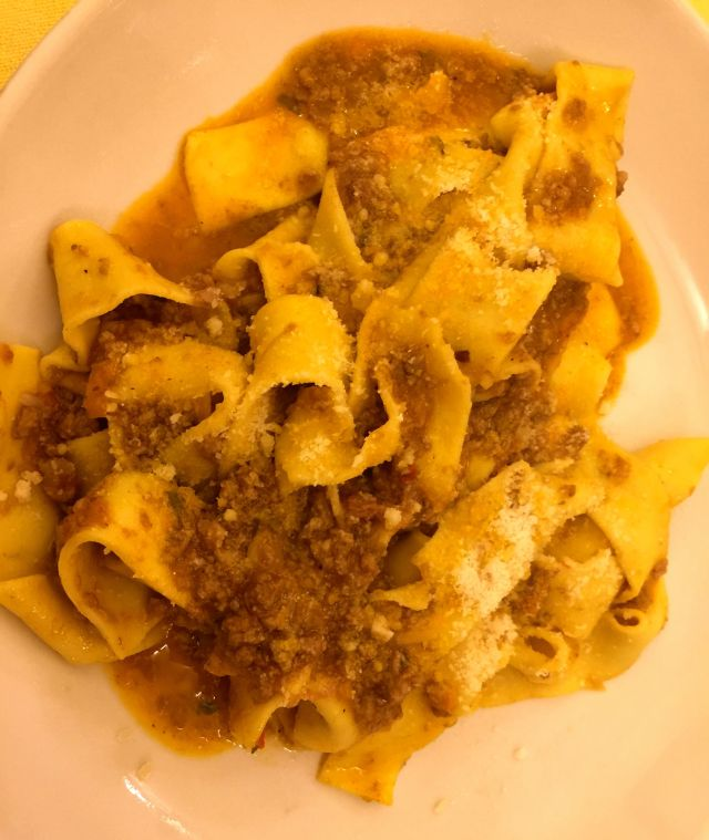 The excellent Pappardelle del Cinghiale at Trattoria del Moro Arrone