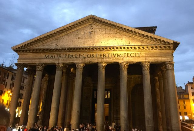 The Pantheon at night.
