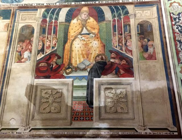 I believe this fresco in the chapel depicts Pope Urban IV who resided in Orvieto at the time of the Miracle of Bolsena and ordered the corporal to be placed in the cathedral.
