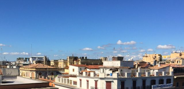 Sunny skies: the view from our hotel in Rome.