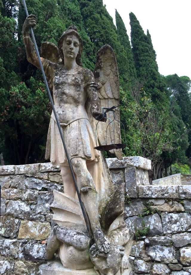 Michael the Archangel standing guard outside the chapel
