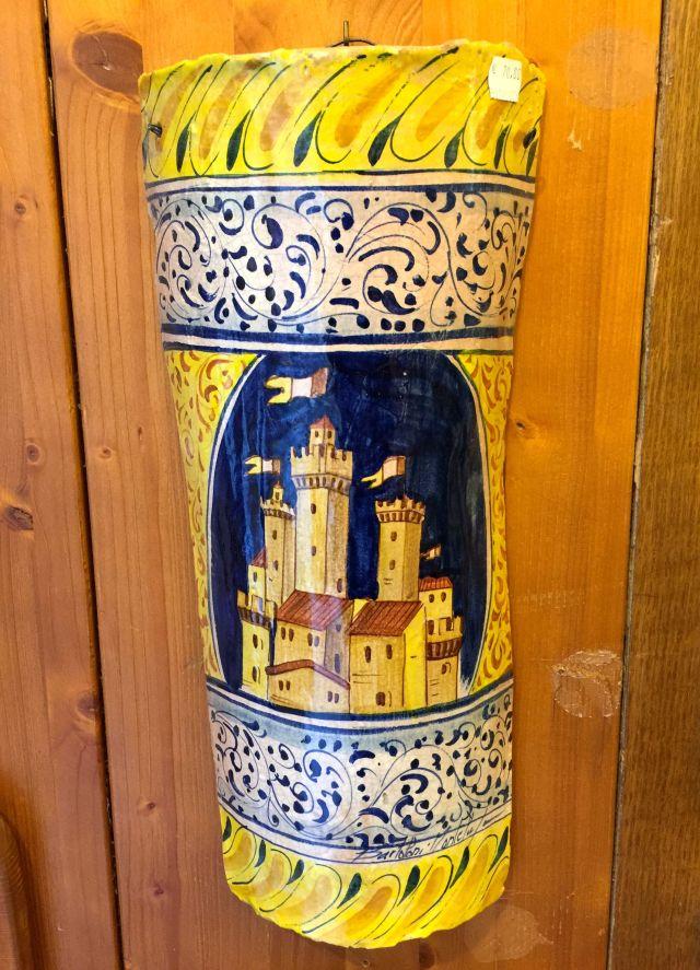 A ceramic depiction of the fortress at Monterrigio.