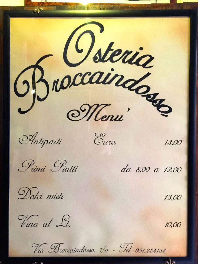 Broccaindosso menu Bologna