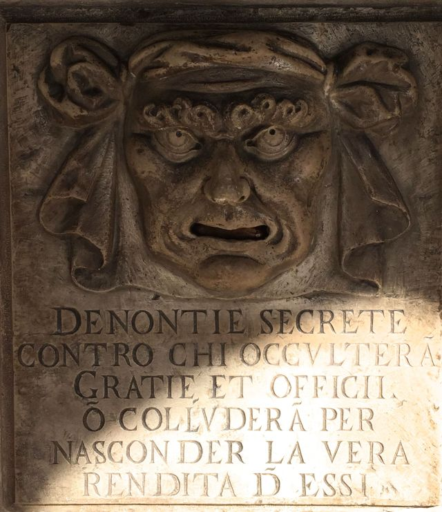 mouth of secret denunciations doge's palace venice