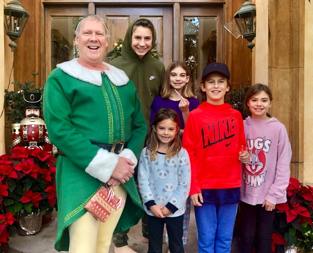 Alan elf with all the kids Christmas Day 2018